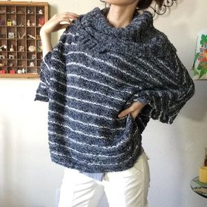 Anthropologie Moth Blue White Chunky Shrug Sweater